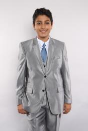 Boys Silver Sharkskin 5 Piece  Perfect for toddler Suit wedding