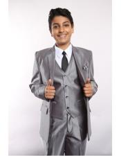 Sharkskin 5 Piece Silver Single Breasted Kids Sizes Suit Vested w/Shirt Tie & Hanky