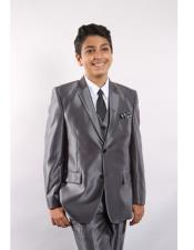 5 Piece Single Breasted Kids Sizes Silver Suit Vested w/ White Shirt Tie & Hanky Stylish Sheen