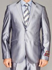 Mens Giorgio Fiorelli Fully Lined  Double Vent Silver 2 Button Suit