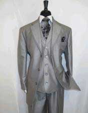 3 Button Single Breasted Notch Lapel Silver Grey Cheap Priced Business