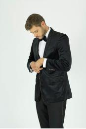 Mens Black Single Breasted Silver 1 Button Shawl Lapel