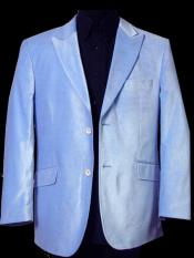 Velvet ~ Velour Fabric Two Button Sky Blue Sport Coat Blazer Jacket