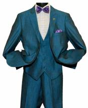 Baby Blue Mens Peak Lapel 2 Button Single Breasted Vested Side