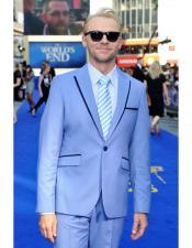 SKU#AP382 Mens Sky Blue Powder Blue ~ Ocean 2 Button Suit