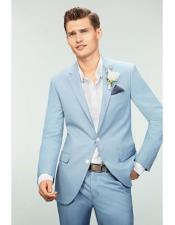 Sky Baby Blue Powder Blue 2 Button Suit for Men