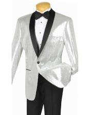 Silver Single Breasted Black Shawl Lapel Sequin Dinner Jacket