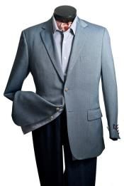 Single Breasted Blazer - Notch Lapel Steel Blue