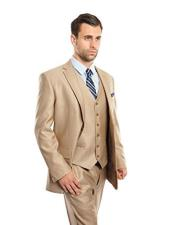 Mens 3 Piece Modern Fit Stone Vested Suits Flat Front Pants