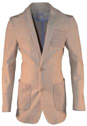 Boys 2 Button Single Breasted  Tan Linen Blazer