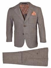 2 Button Notch Lapel Kids Sizes Tan 2 Pc Linen Suit