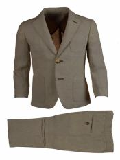 Single Breasted Kids Sizes Notch Lapel Tan 2 Pc Linen Suit and Pant
