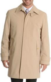 Martini Button Up Single Breasted Rain Coat Tan