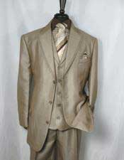 Mens Tan 3 Button Sharkskin Cheap Priced Business Suits Clearance Sale