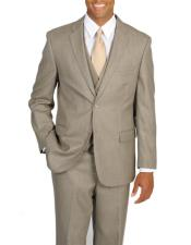 Mens 3 Piece Tan Single Breasted Notch Lapel Vested Suit