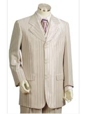 Mens stripe taupe long suit