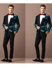 Alberto Narodni Dark Teal Blue Velvet Fabric Dinner Jacket (Greenish Blue) Fashion