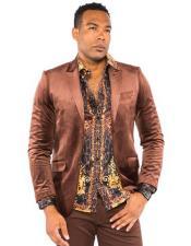 Mens Velvet Brown Suit