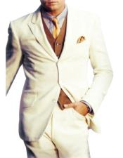 Single Breasted 3 Button Peak Lapel Side Vents White Suit