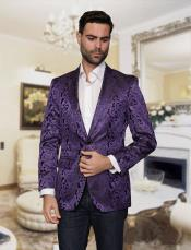 Nardoni Brand Mens Big and Tall Single Breasted Violet Blazer Sport coat Jacket Tuxedo Looking Paisley floral