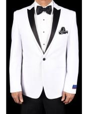 White Super 150s Viscose Blend 1 Button Tuxedo Solid Pattern Slim