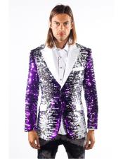 Mens Barabas White/Purple Regular Fit Duo Tone White Peak Lapel Sequins Design 2 Buttons Tuxedo Dinner Jacket