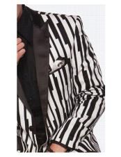 black stripe designed Single Breasted white suit