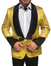 Shiny Paisley Yellow & Black Lapel ~ Gold Tuxedo ~ Dinner Jacket Shawl Collar
