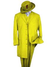 Mens Classic Long Fashion Yellow ~ Gold ~ Mustard Fashion Zoot Suit