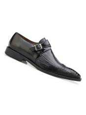 Mens Single Buckle Style Genuine Ostrich And Italian Calf