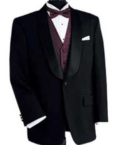 Dinner Jacket 100% Poly 1 Button Shawl Collar