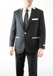 Button Vested Peak Lapel Vested Three Piece With Sheen ( sharskin) Slim Skinny Fitted Black With White
