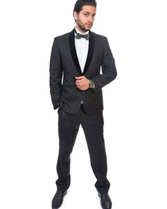 Slim Fit 1 Button Shawl Velvet Collar Suit or Tuxedo Black