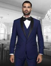 Blue Indigo ~ Bright Blue Cobalt Blue (Dark Royal) Single Button Vested Black Lapel Two Toned Blue
