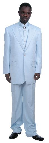 Fashionable 1 Button Zoot Suit With Vest Light Blue ~ Sky Baby Blue