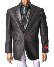 1 Button Black Single Breasted Faux Leather Peak Lapel Sport Jacket Blazer