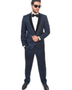Slim Fit 1 Button Shawl Velvet Lapel Suit or Tuxedo Navy Blue