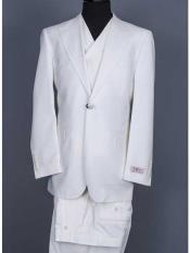 Brand 3 Piece Suit Vested Wide Leg Pants Big Peak Lapel 1 Button Suit Off White 100%