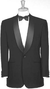 Button Notched Shawl Collar 100% Poly Black Dinner Jacket