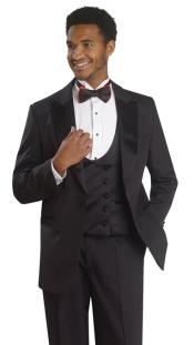 1 Button Tuxedo Double Breasted Black Formal Suit