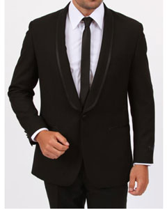 1 Button Shawl collar Slim Fit Vent Black Tuxedo  Slim Fit Black Tuxedo - Skinny Fit