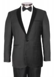 1 Button Black Stylish Velvet Shawl Lapel - Slim Fit