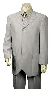 1 Button Grey Fashion Vested Zoot Suit