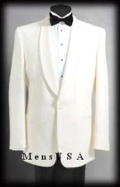 Button Shawl Lapel Dinner Jackets - Ivory (Cream ~ Ivory ~ Off White)100% Tropical Wool