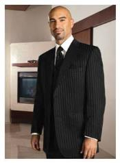 Button Peak Lapel Black On Black Shadow Tone On Tone Pinstripe
