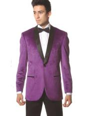 1 Button Purple Shawl Collar Single Breasted Tuxedo Style Blazer