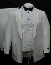 1 Button Peak Lapel White Tuxedo Suits For Men With Double Breasted Satin Vest
