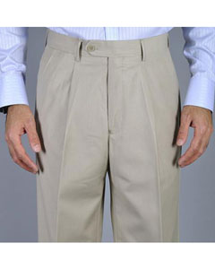 Mens Bone Single Pleat Pants unhemmed unfinished bottom