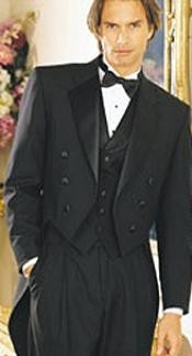 Black Six Button Notch Lapel Tailcoat Tuxedo Jacket with the tail
