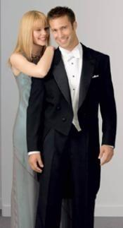 Classic Black Peak Lapel Tailcoat Wool Blend Tuxedo Jacket With The Tail Suit + Vest & Shirt
